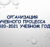 Организация образовательного процесса в 2020-2021 учебном году.